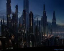 Atardecer en la ciudad del futuro