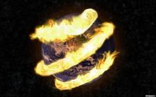 Cola de fuego sobre la tierra