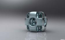 Cubo metalico en 3D